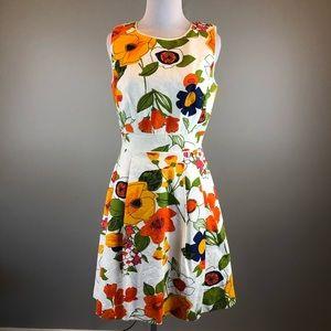Trina Turk White Orange Floral Sleeveless Dress
